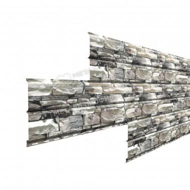 Сайдинг  металлический Lбрус-15х240 Белый Камень глянцевый Металл Профиль